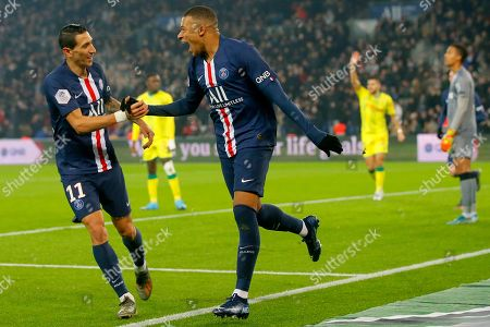 Stock Picture of PSG's Kylian Mbappe, center, celebrates with PSG's Angel Di Maria after scoring his side's opening goal during the French League One soccer match between PSG and Nantes at the Parc des Princes stadium in Paris