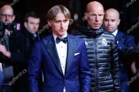 Real Madrid's Croatian midfielder and last year's Ballon d'Or Luka Modric arrives
