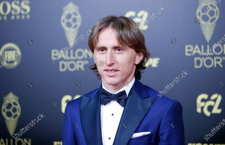 Stock Image of Real Madrid's Croatian midfielder and last year's Ballon d'Or Luka Modric poses