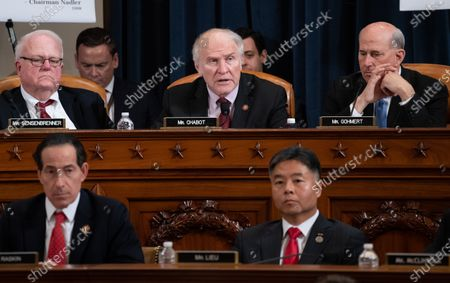 United States Representative Steve Chabot (Republican of Ohio), upper center, speaks during a US House Judiciary Committee hearing on the impeachment of US President Donald Trump on Capitol Hill in Washington, DC,. Looking on at upper left is US Representative F. James Sensenbrenner (Republican of Wisconsin), at upper right is US Representative Louie Gohmert (Representative of Texas), at lower left is US Representative Jamie Raskin (Democrat of Maryland) and at lower right is US Representative Ted Lieu (Democrat of California).