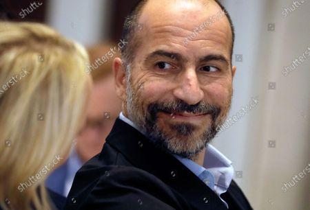 Uber CEO Dara Khosrowshahi waits to speak