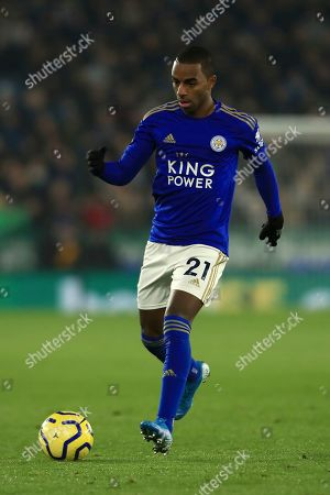 Leicester's Ricardo Pereira during the English Premier League soccer match between Leicester City and Watford at the King Power Stadium, in Leicester, England