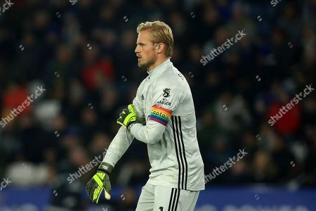 Leicester's goalkeeper Kasper Schmeichel wears the Rainbow lace captains in arm band during the English Premier League soccer match between Leicester City and Watford at the King Power Stadium, in Leicester, England