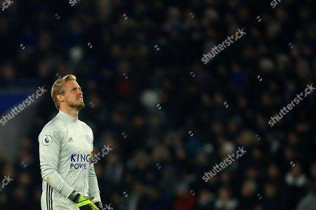 Leicester's goalkeeper Kasper Schmeichel during the English Premier League soccer match between Leicester City and Watford at the King Power Stadium, in Leicester, England