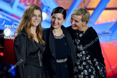 Chiara Mastroianni, French director Rebecca Zlotowski and French producer Melita Toscan du Plantier attend the screening of 'It Must Be Heaven' during the 18th annual Marrakech International Film Festival, in Marrakech, Morocco, 04 December 2019. The film festival runs from 29 November to 07 December 2019.