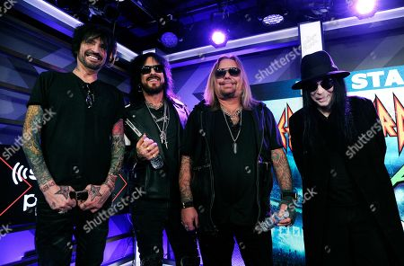 Tommy Lee, Nikki Sixx, Vince Neil, Mick Mars. Tommy Lee, from left, Nikki Sixx, Vince Neil and Mick Mars of Motley Crue pose following a news conference to announce The Stadium Tour 2020 featuring Motley Crue, Poison and Def Leppard, at the SiriusXM offices, in Los Angeles