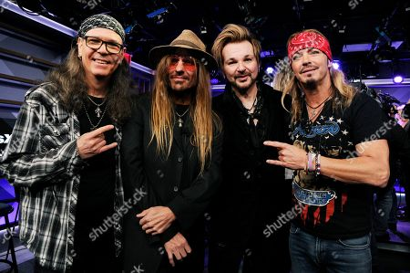 C.C. DeVille, Bret Michaels, Bobby Dall, Rikki Rockett. Bobby All, from left, C.C. DeVille, Rikki Rockett and Bret Michaels of Poison pose during a news conference to announce The Stadium Tour 2020 featuring Poison, Def Leppard and Motley Crew, at the SiriusXM offices, in Los Angeles