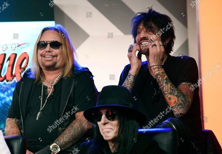 Stock Photo of Mick Mars, Vince Neil and Tommy Lee of Motley Crue appear during a news conference to announce The Stadium Tour 2020 featuring Motley Crue, Poison and Def Leppard, at the SiriusXM offices, in Los Angeles
