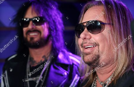 Stock Picture of Nikki Sixx, Vince Neil. Nikki Sixx, left, and Vince Neil of Motley Crue are interviewed following a news conference to announce The Stadium Tour 2020 featuring Motley Crue, Poison and Def Leppard, at the SiriusXM offices, in Los Angeles