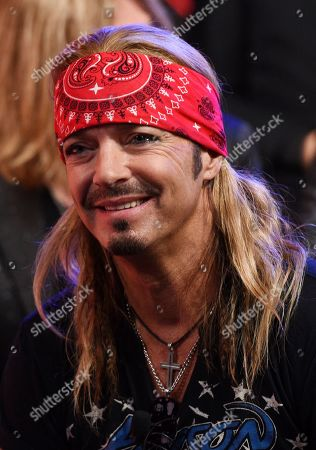 Stock Picture of Bret Michaels of Poison looks on during a news conference to announce The Stadium Tour 2020 featuring Poison, Motley Crue and Def Leppard, at the SiriusXM offices, in Los Angeles