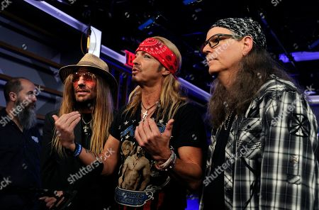 C C DeVille, Bret Michaels, Bobby Dall. From left, C C DeVille, Bret Michaels and Bobby Dall of Poison are interviewed following a news conference to announce The Stadium Tour 2020 featuring Poison, Motley Crue and Def Leppard, at the SiriusXM offices, in Los Angeles