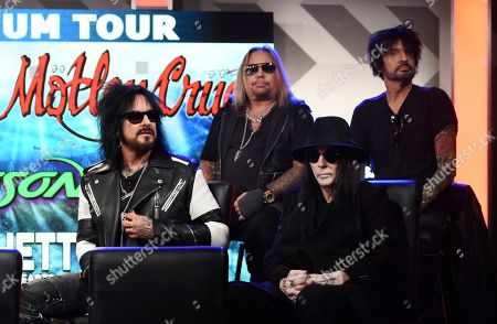 Stock Photo of Nikki Sixx, Vince Neil, Mick Mars, Tommy Lee. Nikki Sixx, from left, Vince Neil, Mick Mars and Tommy Lee of Motley Crue take part in a a news conference to announce The Stadium Tour 2020 featuring Motley Crue, Def Leppard and Poison, at the SiriusXM offices, in Los Angeles