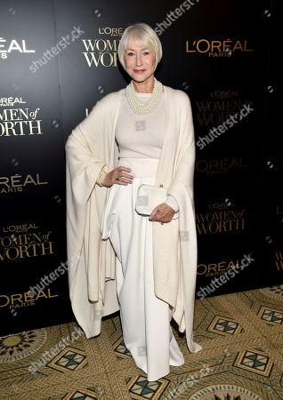 Stock Image of Dame Helen Mirren attends the 14th annual L'Oreal Paris Women of Worth Gala at the Pierre Hotel, in New York