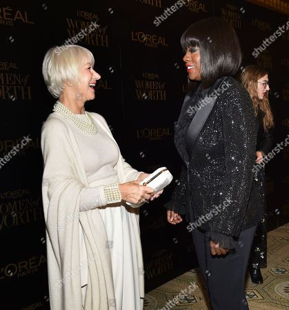 Helen Mirren, Viola Davis. Actors Dame Helen Mirren, left, and Viola Davis attend the 14th annual L'Oreal Paris Women of Worth Gala at the Pierre Hotel, in New York