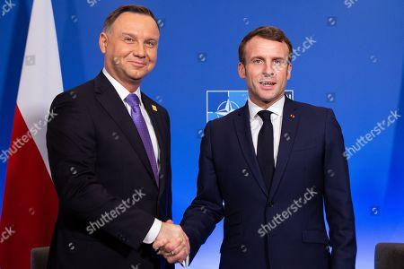 Stock Photo of Polish president Andrzej Duda and French president Emmanuel Macron