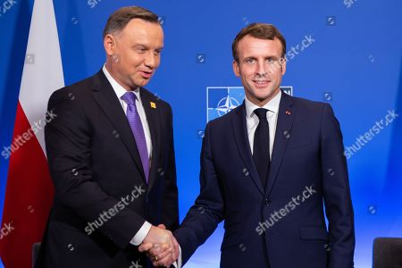 Stock Picture of Polish president Andrzej Duda and French president Emmanuel Macron
