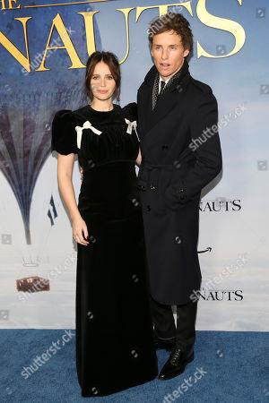 "Felicity Jones, Eddie Redmayne. Felicity Jones, left, and Eddie Redmayne, right, attend the premiere of ""Aeronauts"" at the SVA Theatre, in New York"
