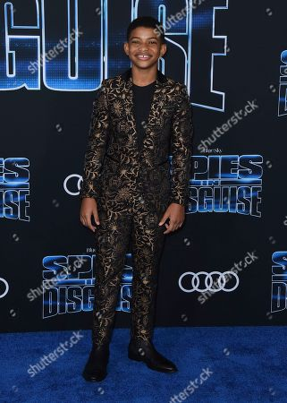"""Lonnie Chavis arrives at the world premiere of """"Spies in Disguise"""" at the El Capitan Theatre, in Los Angeles"""