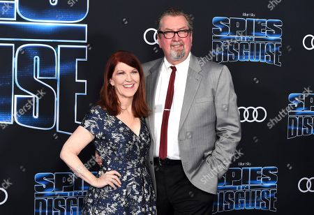"Kate Flannery, Chris Haston. Kate Flannery, left, and Chris Haston arrive at the world premiere of ""Spies in Disguise"" at the El Capitan Theatre, in Los Angeles"