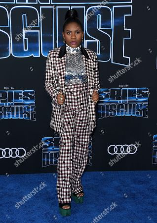 """Trinitee Stokes arrives at the world premiere of """"Spies in Disguise"""" at the El Capitan Theatre, in Los Angeles"""