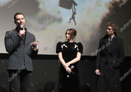 Stock Picture of Producer Todd Lieberman, Felicity Jones and Eddie Redmayne