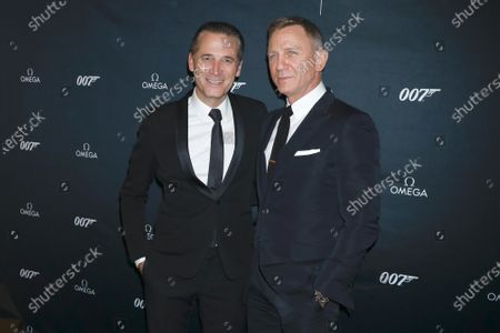 Stock Image of Raynald Aeschlimann, CEO of Omega and Daniel Craig