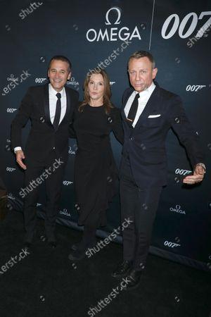 Raynald Aeschlimann, CEO of Omega, Barbara Broccoli and Daniel Craig