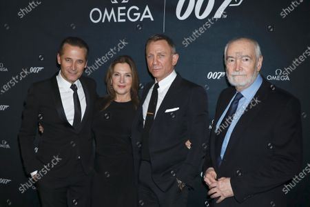 Stock Photo of Raynald Aeschlimann, CEO of Omega, Barbara Broccoli, Daniel Craig and Michael G Wilson