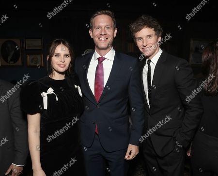 Felicity Jones, Amazon Studios Co-Head of Movies Matt Newman and Eddie Redmayne