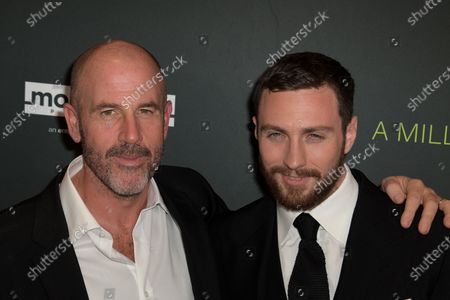 US writer James Frey (L) and British actor Aaron Taylor-Johnson (R) arrive at the premiere of the movie 'A Million Little Pieces' at The London West Hollywood at Beverly Hills in Los Angeles, California, USA, 04 December 2019.