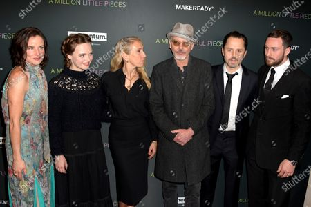US actress Juliette Lake Lewis, Australian actress Odessa Young, British director Sam Taylor-Johnson, US actor Billy Bob Thornton, US actor Giovanni Ribisi and British actor Aaron Taylor-Johnson arrive at the premiere of the movie 'A Million Little Pieces' at The London West Hollywood at Beverly Hills in Los Angeles, California, USA, 04 December 2019.