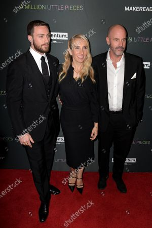Aaron Taylor-Johnson (L), British director Sam Taylor-Johnson (C) and US writer James Frey (R) arrive at the premiere of the movie 'A Million Little Pieces' at The London West Hollywood at Beverly Hills in Los Angeles, California, USA, 04 December 2019.
