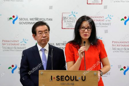 Ekaterina Zagladina, Park Won-soon. Ekaterina Zagladina, president of the Permanent Secretariat of the World Summit of Nobel Peace Laureates speaks during a press conference with Seoul Mayor Park Won-soon, left, at the Seoul City Hall in Seoul, South Korea, . Nobel Peace Prize recipients from around the world will gather in Seoul next year to discuss ways to enhance inter-Korean peace, as well as global peace, it was announced on Thursday, Yonhap news agency reported