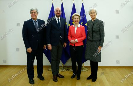 European Council President Charles Michel (2-L) and European Commission President Ursula von der Leyen (2-R) pose for a photograph with Eurogroup President Mario Centeno (L) and European Central Bank (ECB) President Christine Lagarde (R) in Brussels, Belgium, 05 December 2019.