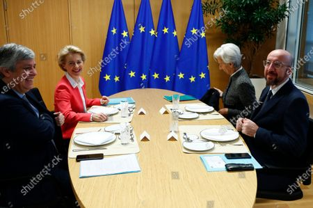 European Council President Charles Michel (R) attends a meeting with European Commission President Ursula von der Leyen (2-L), Eurogroup President Mario Centeno (L) and European Central Bank (ECB) President Christine Lagarde (2-R) in Brussels, Belgium, 05 December 2019.
