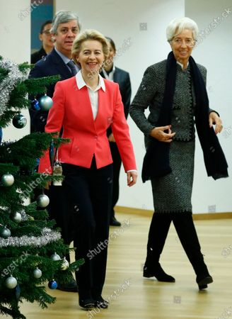 European Commission President Ursula von der Leyen (2-L), Eurogroup President Mario Centeno (L) and European Central Bank (ECB) President Christine Lagarde (R) arrive for a meeting with European Council President Charles Michel in Brussels, Belgium, 05 December 2019.