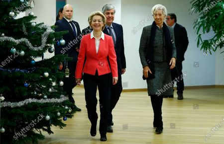European Commission President Ursula von der Leyen (2-L), Eurogroup President Mario Centeno (C) and European Central Bank (ECB) President Christine Lagarde (R) arrive for a meeting with European Council President Charles Michel in Brussels, Belgium, 05 December 2019.