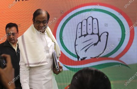 Indian former finance minister and Congress party leader P Chidambaram (2-L) arrives to address a press conference in New Delhi, India, 05 December 2019. Chidambaram was arrested on 21 August in connection with the INX Media corruption and money laundering scandal. He was released on 04 December 2019 on bail, granted by the Supreme Court of India.