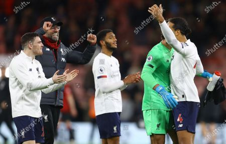Stock Picture of Liverpool manager Jurgen Klopp celebrates at full time with his defence and Alisson Becker of Liverpool after a rare clean sheetLiverpool manager Jurgen Klopp celebrates at full time with his defence and Alisson Becker of Liverpool