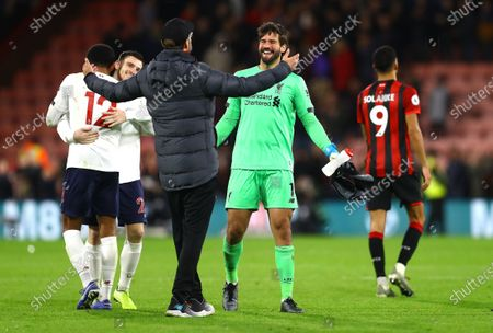 Stock Image of Liverpool manager Jurgen Klopp celebrates at full time with Alisson Becker of Liverpool after a rare clean sheet