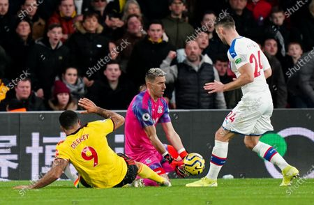Vicente Guaita of Crystal Palace makes a save to deny Troy Deeney of Watford