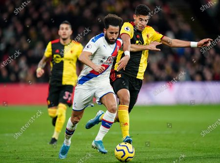 Stock Photo of Andros Townsend of Crystal Palace is challenged by Etienne Capoue of Watford