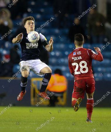Ben Thompson of Millwall - Tiago Silva of Nottingham Forest