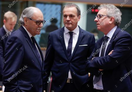 (L-R) Malta's Finance Minister, Edward Scicluna; Eduard Mueller, Finance Minister of Austria and Luxembourg's Finance Minister Pierre Gramegna converse during a Finance Ministers' meeting at the European Council in Brussels, Belgium, 05 December 2019.