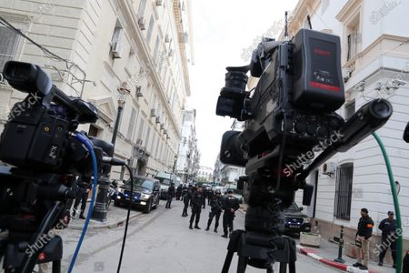 Cameras are set outside a court during the trial of senior officials including two former prime ministers in Algiers, Algeria, 05 December 2019. The two former Prime Ministers Abdelmalek Sellal and Ahmed Ouyahia will appear before the judge on charges of money laundering and corruption.