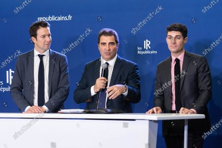 Christian Jacob, Guillaume Peltier and Aurelien Pradie at a press conference on pension reform and the social and the general strike planned for the 5th December