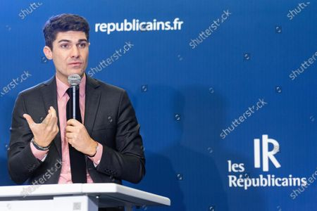 Stock Photo of Aurelien Pradie at a press conference on pension reform and the social and the general strike planned for the 5th December