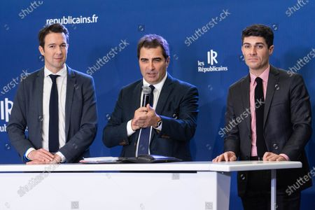 Stock Picture of Christian Jacob, Guillaume Peltier and Aurelien Pradie at a press conference on pension reform and the social and the general strike planned for the 5th December
