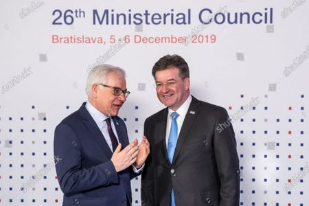 Slovak Minister of Foreign Affairs Miroslav Lajcak (R) welcomes Polish Foreign Minister Jacek Czaputowicz (L) ahead of the 26th Organization for Security and Co-operation in Europe (OSCE) Ministerial Council in Bratislava, Slovakia, 05 December 2019. The 26th OSCE Ministerial Council, bringing together some 57 Foreign Ministers from across the OSCE region, takes place on 05 and 06 December 2019.