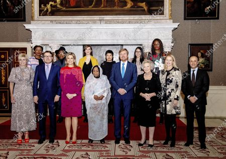 Queen Maxima and King Willem-Alexander with Princess Mabel, Princess Beatrix, Prince Constantijn, Princess Laurentien, Ila Kasem and M. de Rivero